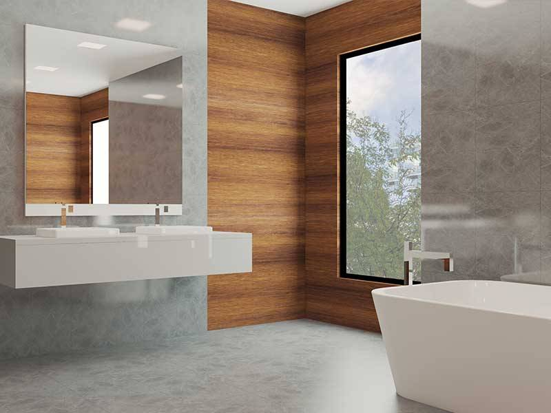 wooden effect bathroom wall panels in newly fitted bathroom